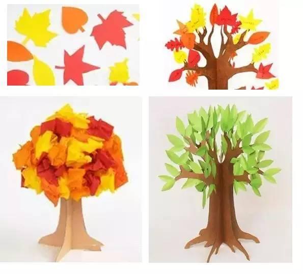 幼儿园手工制作 春天的小树在成长