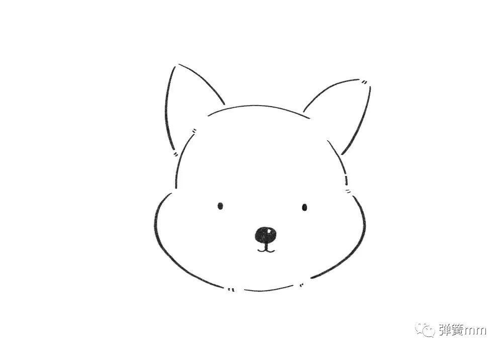 手绘教程:画一只发财的柯基狗狗