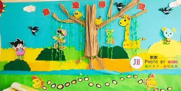 幼儿园开园春季手工主题墙环创布置图片