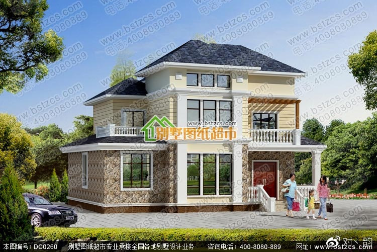 农村二层带阁楼别墅设计效果图   图纸属性   编号:dc0260 层数:三层