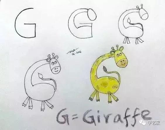 把字母变成简笔画,孩子只 玩 一遍就记住了