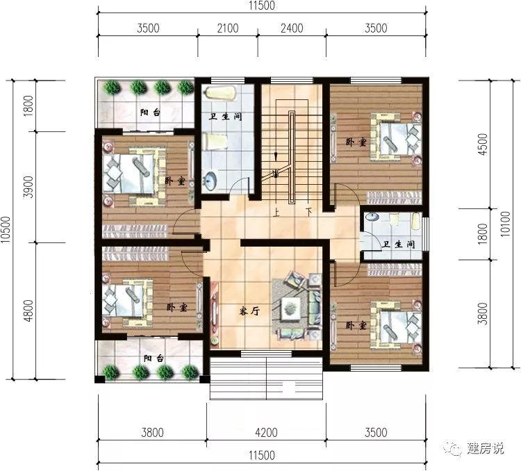 8米 平面图 开间12米,进深14.7米,占地面积134.97平方米,建筑面积384.