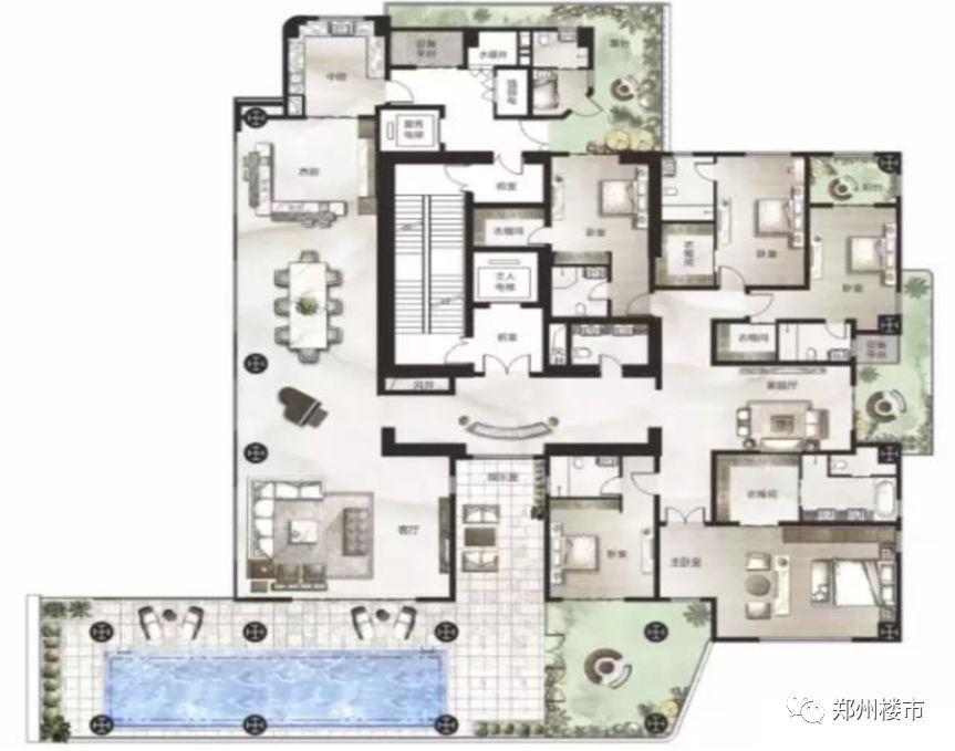 顶层平面图豪宅