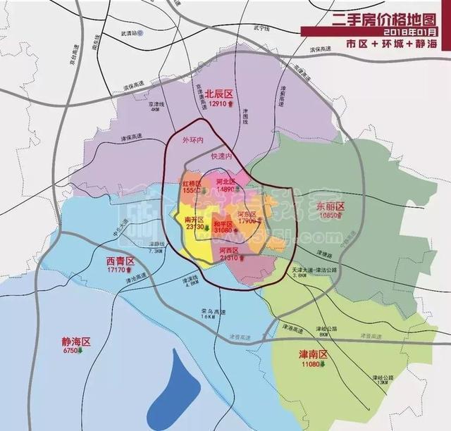 天津各区域板块二手房价格地图