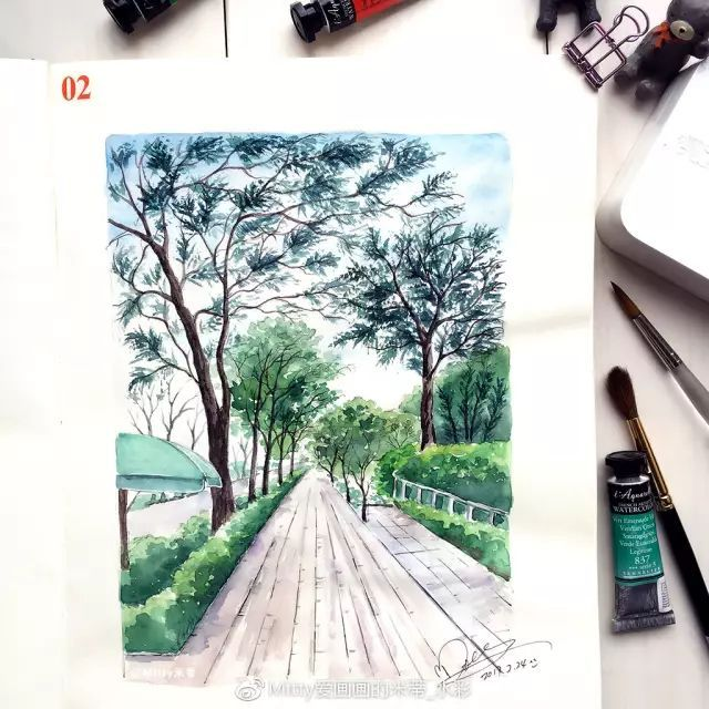 街景(淡彩作品) 這幅作品使用的是handbook系列130g中性無酸加厚紙