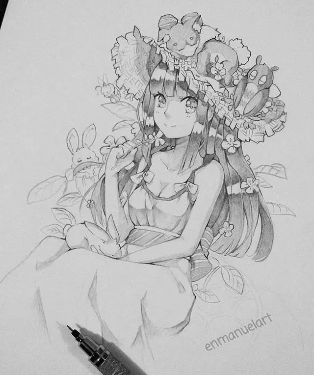 16岁二次元少女用铅笔描绘灵动的动漫人物