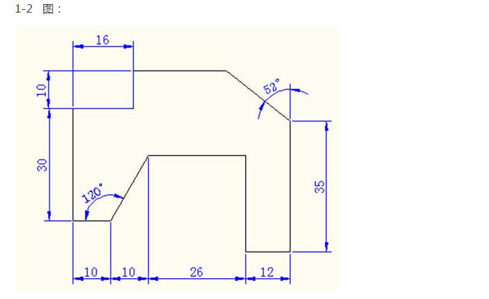 重点难点:正交模式和极坐标追踪模式的使用、两斜直线的画法、角度的尺寸标注。  审图:本题使用相对坐标画图,需建立两个图层分别是绘图、尺寸标注图层;计算各点的相对坐标,利用正交模式画出各段线段,内外框分别画出 绘图步骤:先建立两个图层分别是绘图、尺寸标注图层;外框从两个方向(上、右)利用正交模式画,内框从点(10,6)开始,利用正交模式和相关线段尺寸画出;最后按照原图进行尺寸标注。 重点难点:利用正交模式、内框的左下点坐标、尺寸标注的连续标注。  审图:本题使用相对坐标画图,需建立两个图层分别是绘图、尺寸标