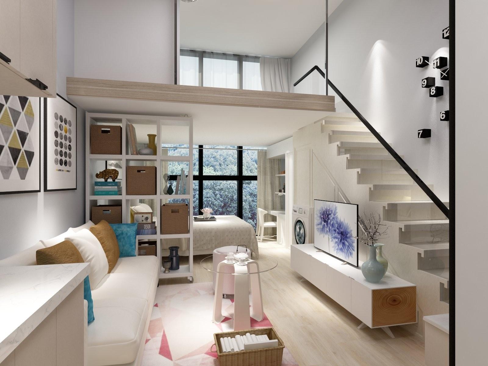 小户型的客厅比较小,则可设在电视背景墙上方,依照装修风格来确定楼梯