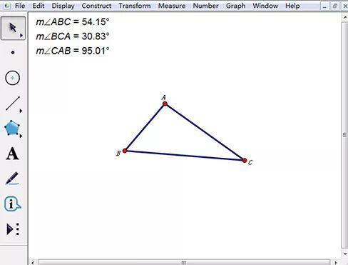 用几许画板验证三角形内角和180度(责编保举:初中数学zsjyx.com)