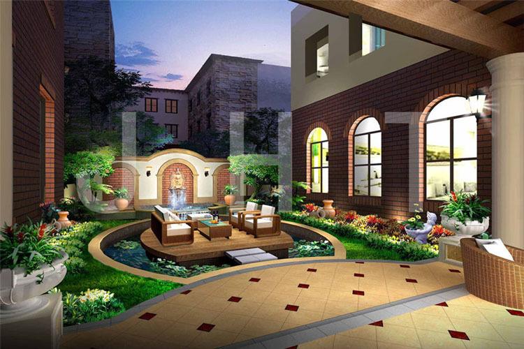 现代别墅庭院景观设计_现代中式别墅庭院景观设计,打造秀美的新风格-嘉禾田