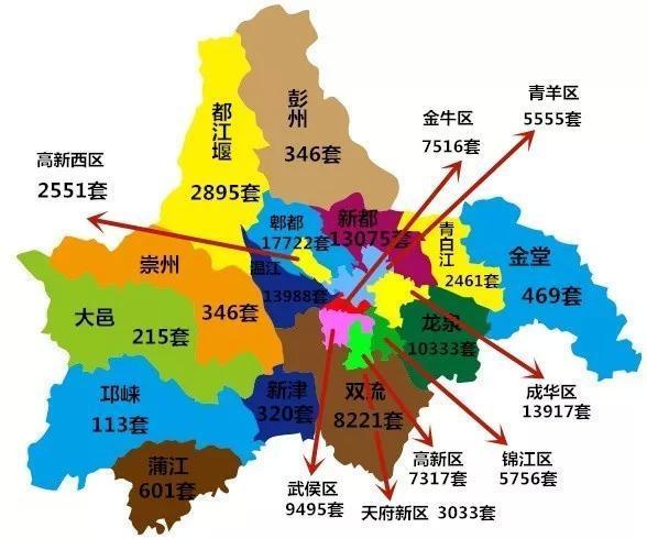 先来看看 成都100万以下二手房套数地图 地图部分行政区轮廓有出入图片