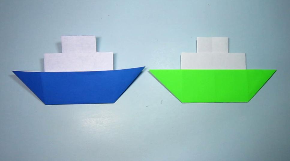 2分钟学会折纸小船,简单小轮船的折法,手工折纸