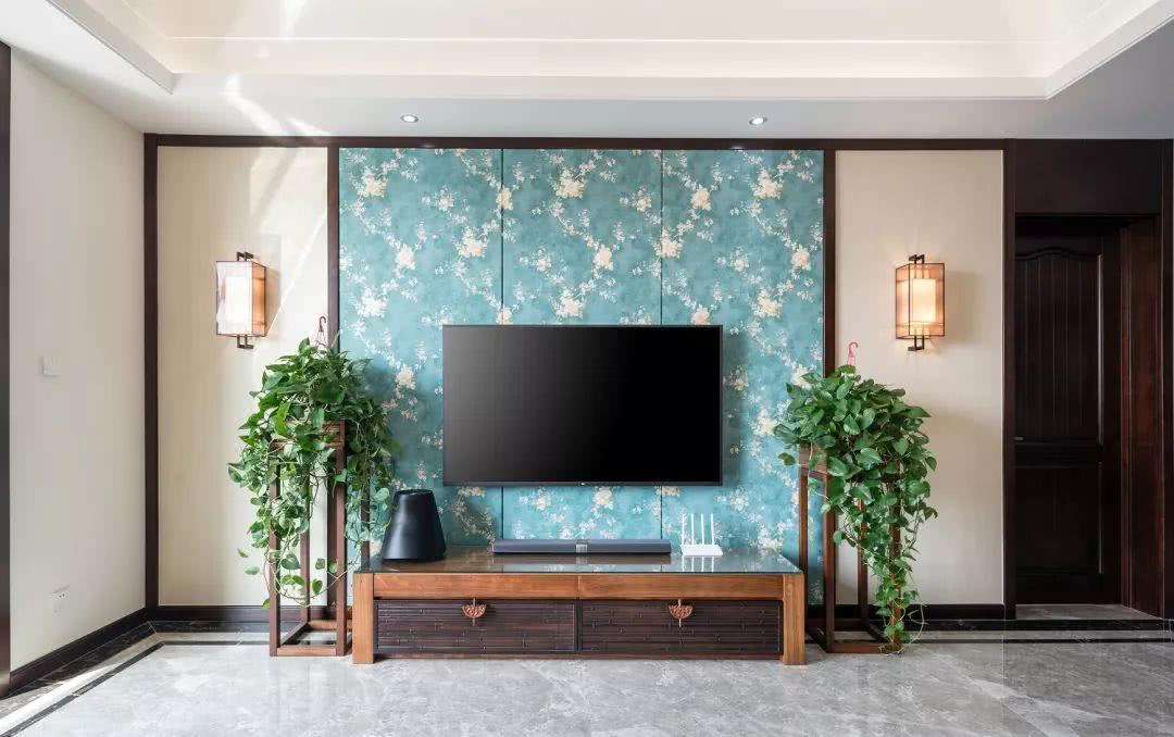 好漂亮的混搭装修,185㎡现代 新中式,背景墙设计厉害图片