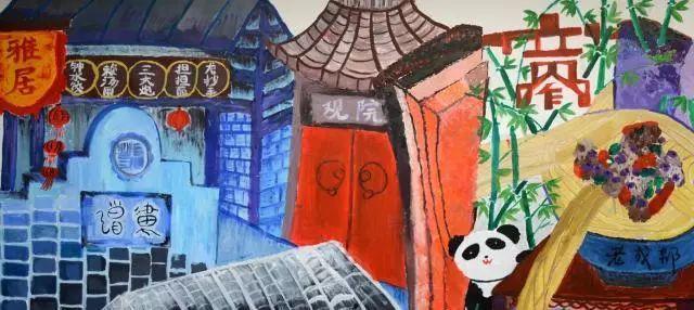 """太厉害了   游客惊呼   3月4日,从深圳到成都旅游的曾小姐,逛宽窄巷子走到泡桐树街,发现了一组特别的墙画,当场让她惊呼""""这是小学生画的?图片"""
