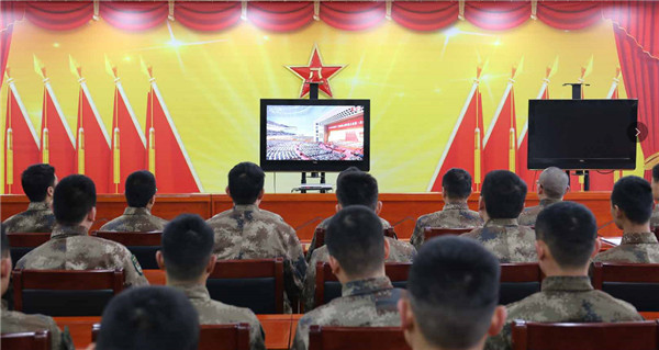 驻晋某部官兵组织收看十三届全国人大一次会议开幕式