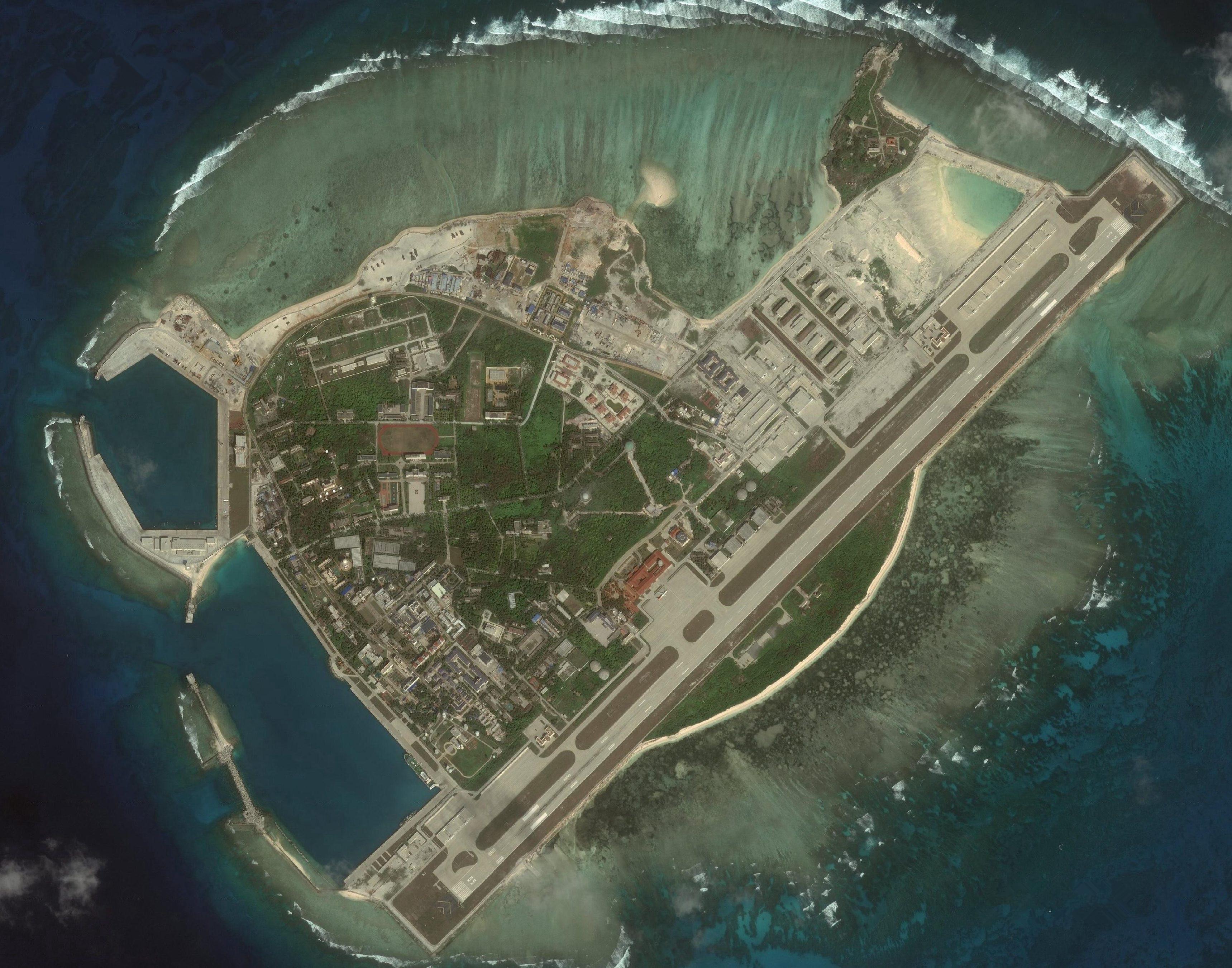 科技 正文  worldview-2卫星拍摄三沙市驻地永兴岛缩略图 2018-01-25