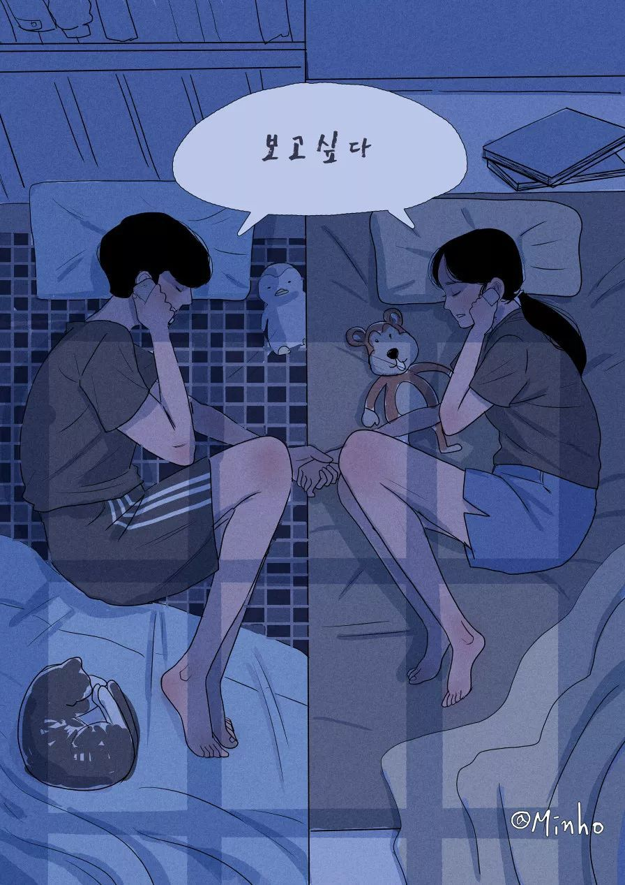 暖心 插画家用一句话,一幅画,诠释一对夫妻的日常生活