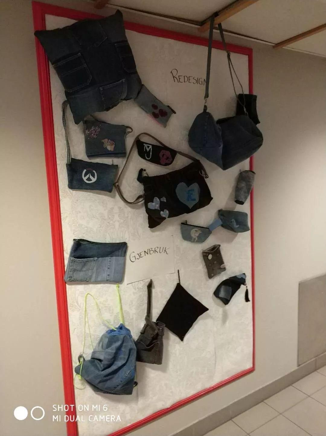手工制作的冰激凌艺术作品的地方已经换成了由学生设计制作的牛仔包