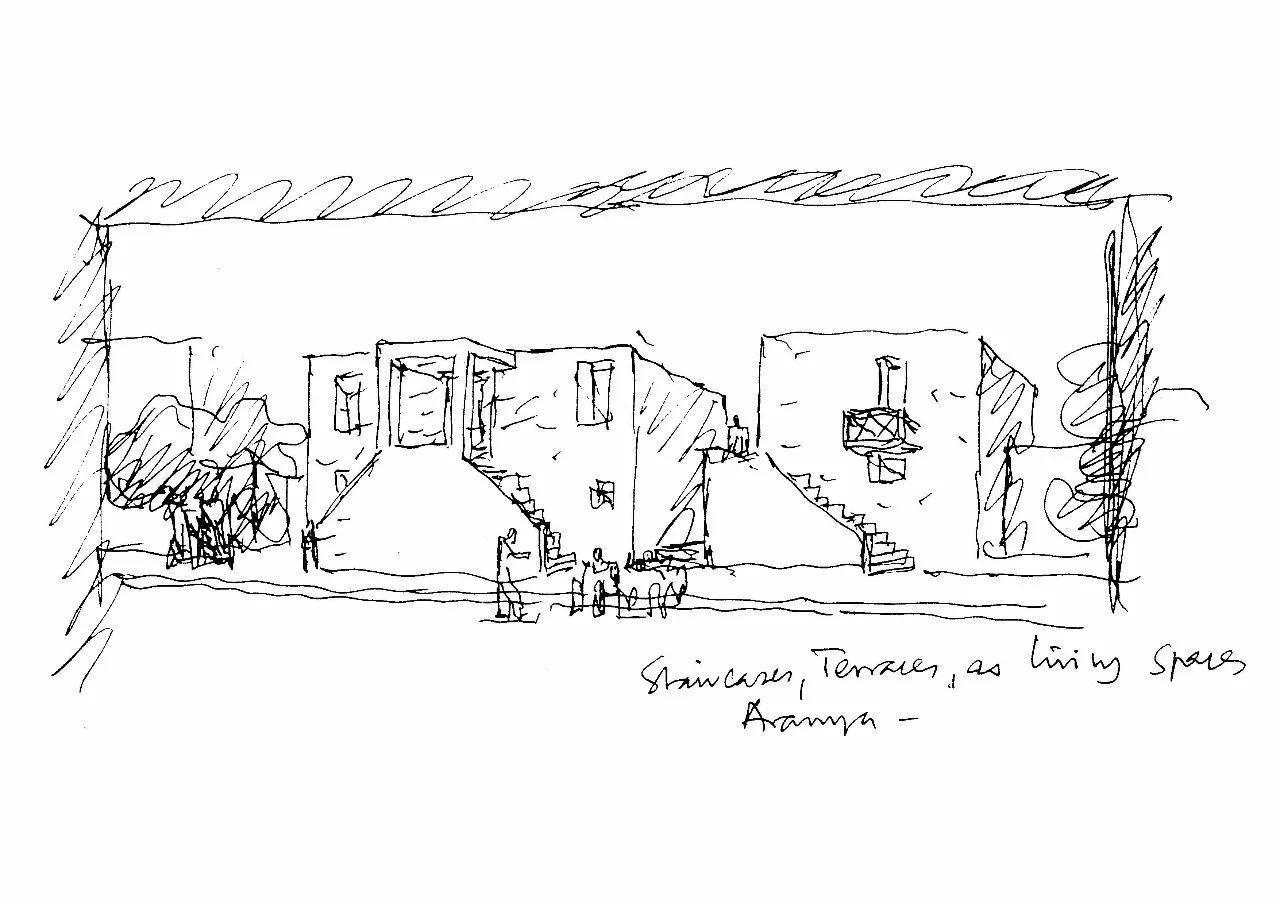 画廊建筑手绘方案