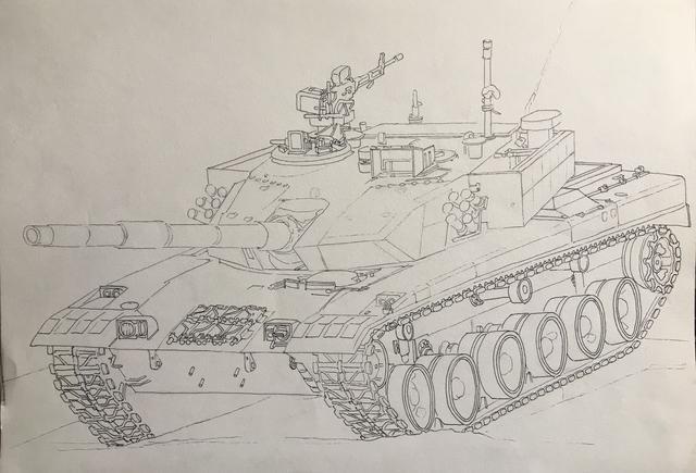 手绘军事过程图——中国96b主战坦克