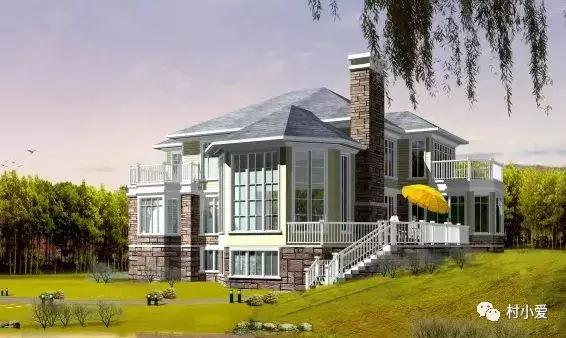 乡村盖房子也开始追求潮流,时尚的外观设计,这款超大落地窗的欧式别墅图片