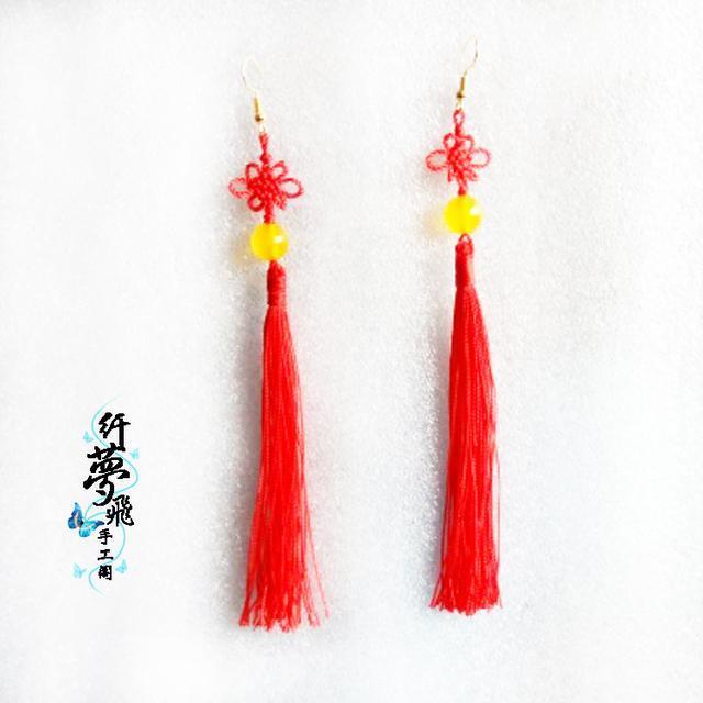 中国结流苏耳环制作