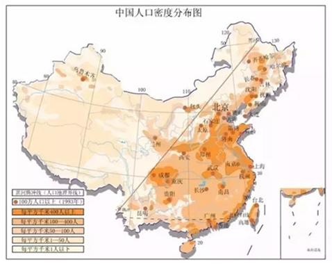 中国人口密度分布图