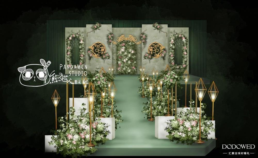 dodowed婚礼手绘推荐系列之熊猫人森系婚礼效果图