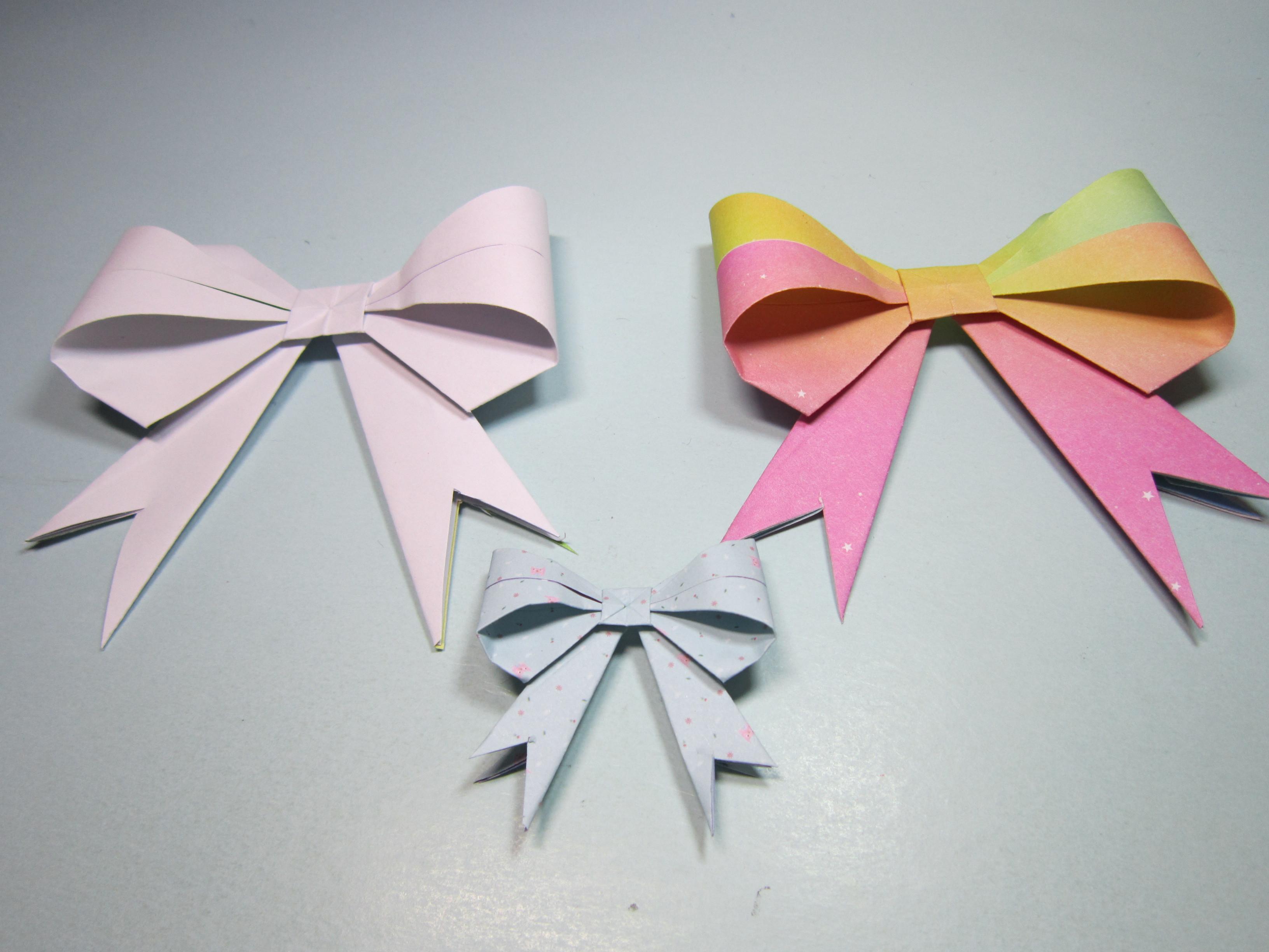 儿童手工折纸蝴蝶结,一张纸4分钟折出美丽简单的蝴蝶结