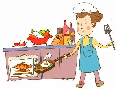奶奶做饭手绘图片