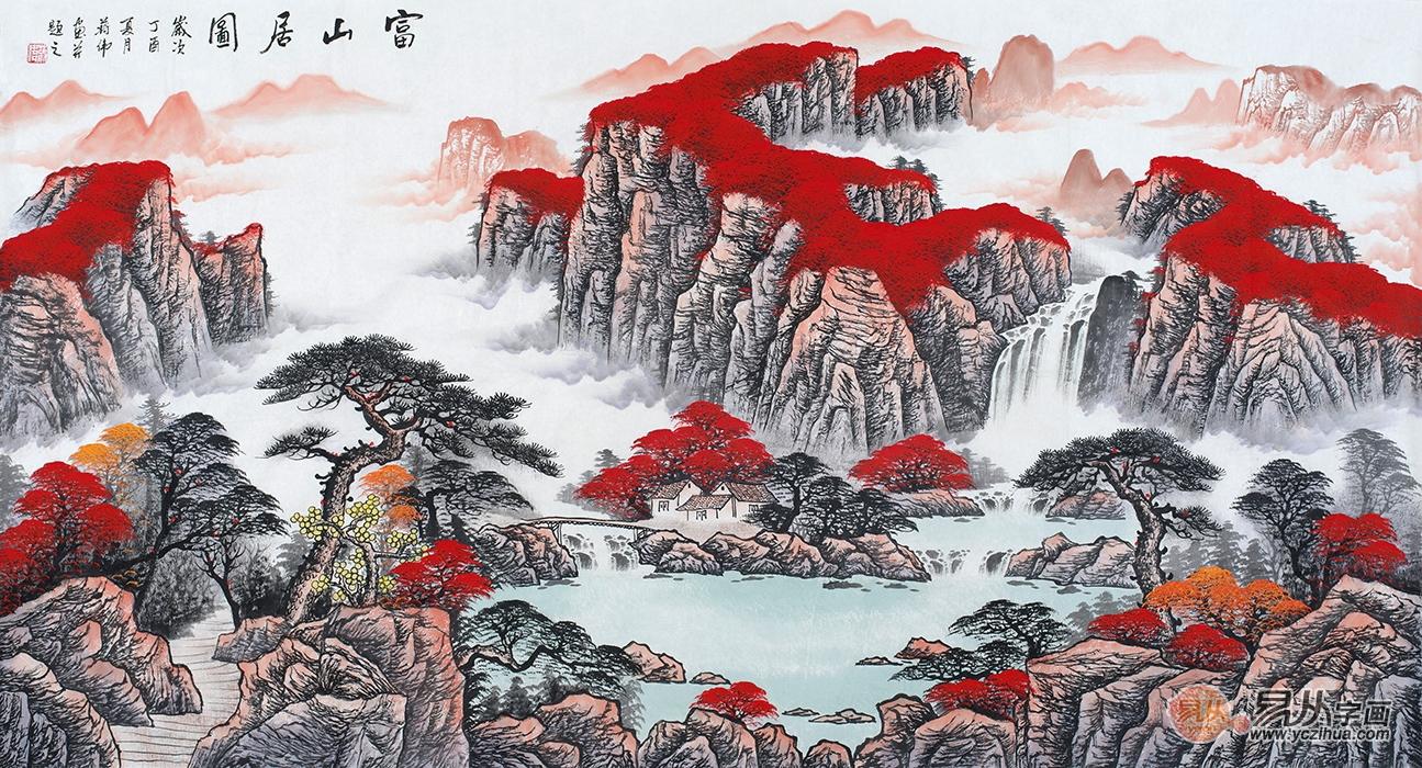 了解山水画的美,新中式家居挂字画的经典搭配