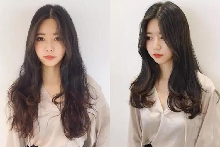 这款微卷韩式中长发烫发你也可以试试哦~发尾的头发修剪出利落的层次图片
