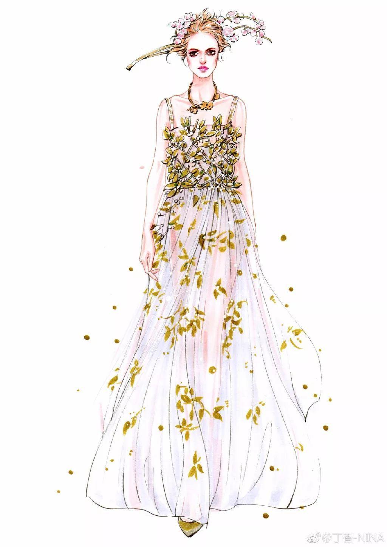 一位服装设计插画师 毕业于北京服装学院 她的时装手绘线条流利 她