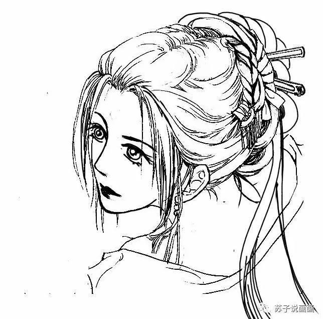 板绘教程:古风漫画人物黑发技法_搜狐动漫_搜狐网