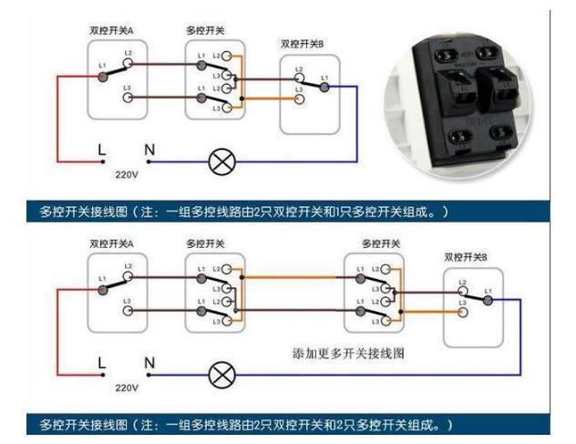 单只开关巧控多组灯的原理_三控一灯开关接线图