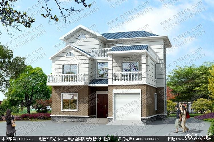 自建房设计 新农村二层半带车库自建别墅效果图