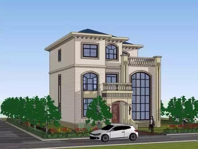 别墅外观气派华丽,大气的玻璃幕墙以及大小阳台设计增强采光.