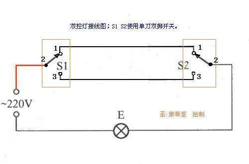一灯三控接线图 双控灯 三联开关接线图