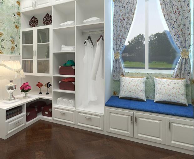 飘窗一体化衣柜设计图片