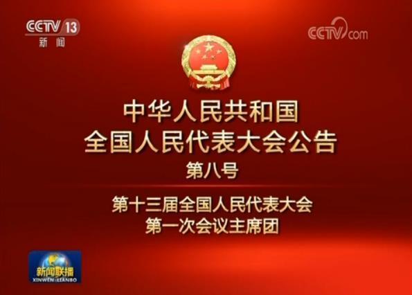 中华人民共和国全国人民代表大会公告
