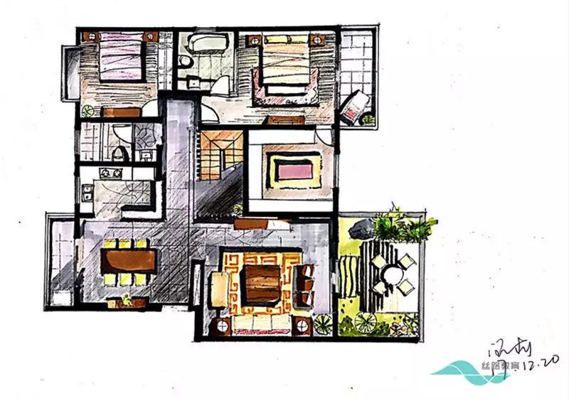 客厅,餐厅,家具各类手绘图