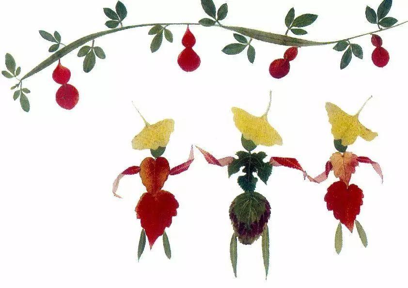成为飞上天空的缤纷舞蹈 树叶画 和孩子们一起用树叶粘贴一幅幅画 与