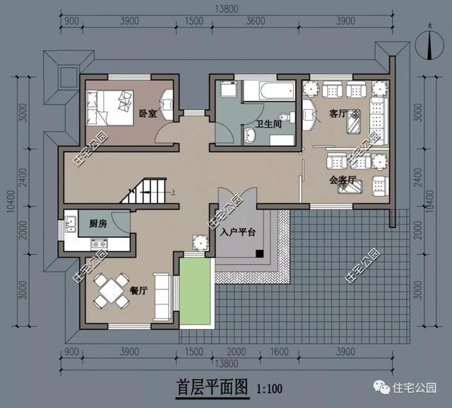 农村特色别墅14x10米,l型,带小院,6室3厅,美观实用!图片