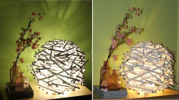 废物利用手工制作旧报纸手工diy的创意卷纸台灯