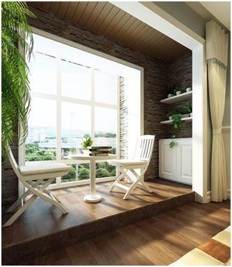 常见的材质有防腐木,金属材料,水泥材料等,也因为阳台的户型,尺寸不