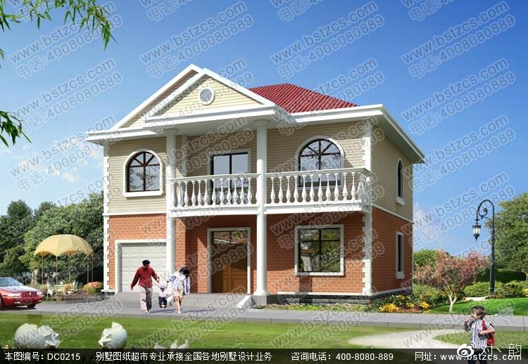 农村别墅设计_新农村带车库二层小别墅设计效果图