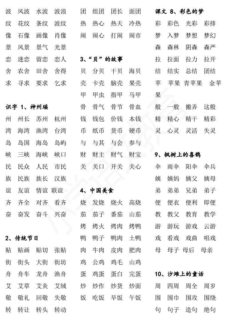 统编教材小学语文一下,二下全书生字表,带组词(可保存