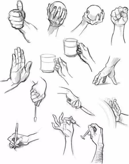 在艺术考试和绘画创作中 抓东西的手,几乎囊括其中 手抓饼剑,手握图片