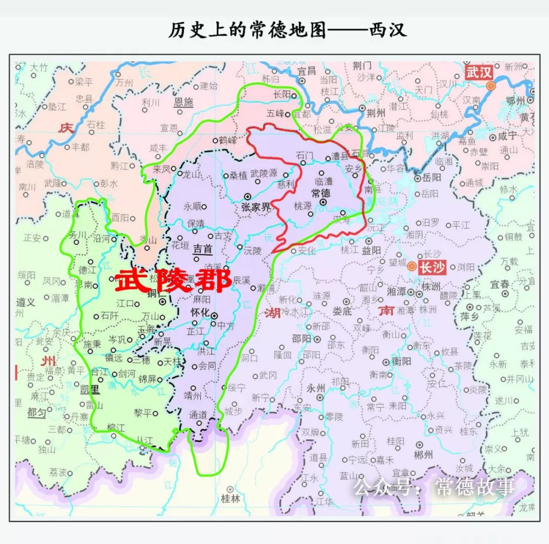 红色边界为现在常德的行政地图,绿色边界为相应朝代行政地图.图片