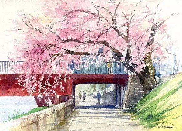 春天一到,芳华依然:柴田治水彩风景速写